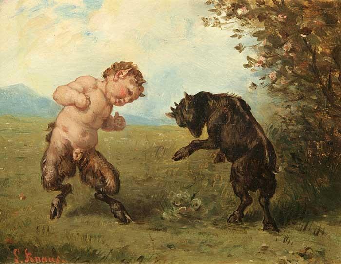 Faun and goat, Ludwig Knaus (1829 – 1910)